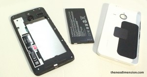 (Picture above) Internal, removable battery and back cover