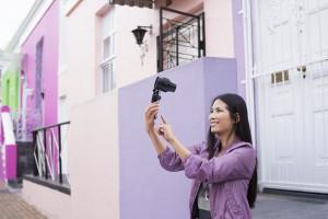 selfie with DSC-QX30