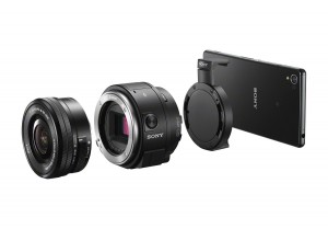 clamp the camera to  the phone; with the QX1, attach an E-Mount lens.
