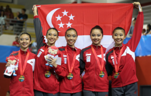 The Metropolitan Festival Orchestra honours Team Singapore athletes and Team Nila volunteers, including the 28th SEA Games Rhythmic Gymnastics team, pictured above.